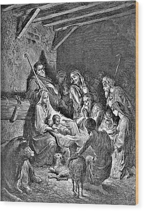 Nativity Bible Illustration Engraving Wood Print by
