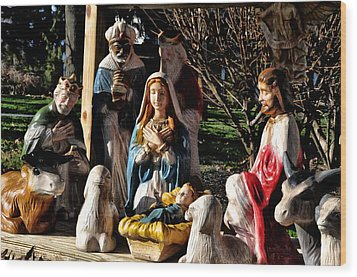 Nativity Wood Print by Bill Cannon
