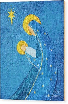 Nativity In Blue Wood Print by Pattie Calfy