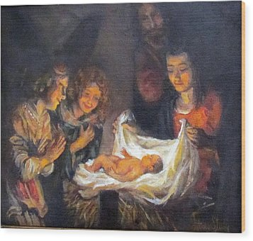Wood Print featuring the painting Nativity Scene Study by Donna Tucker