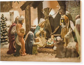 Wood Print featuring the photograph Nativity Set by Alex Grichenko