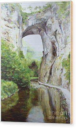 Natural Bridge Wood Print by J Luis Lozano