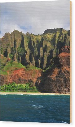 Natural Cathedrals Of Napali Coast Wood Print by Photography  By Sai