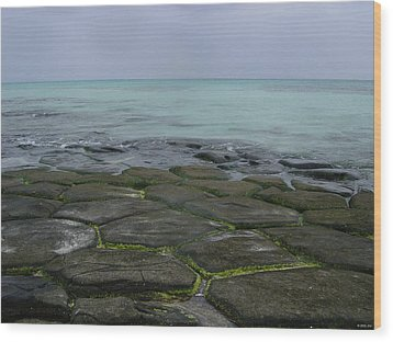 Natural Forming Pentagon Rock Formations Of Kumejima Okinawa Japan Wood Print by Jeff at JSJ Photography