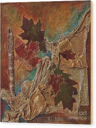 Wood Print featuring the mixed media Natural Rythmes - Earth Colors  by Delona Seserman