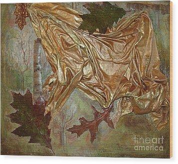 Wood Print featuring the mixed media Natural Rythmes - Green Tones by Delona Seserman
