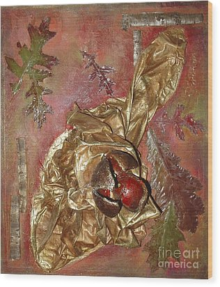 Wood Print featuring the mixed media Natural Rythmes - Red Tones  by Delona Seserman