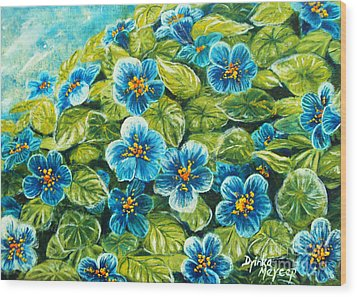 Nature Blue Flowers Original Painting Oil On Canvas Wood Print by Drinka Mercep