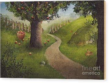 Nature Design - Apple Orchard Wood Print by Mythja  Photography