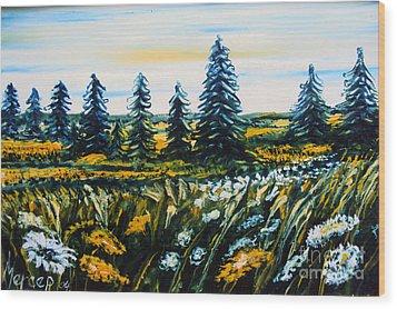 Nature Landscape Field Flowers Pines Art  Wood Print by Drinka Mercep