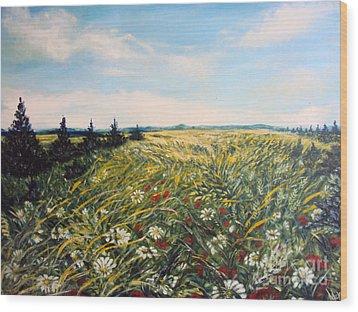 Nature Landscape Field Poppies Daises Grass Pines Original Art  Wood Print by Drinka Mercep