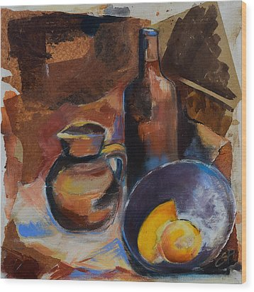 Wood Print featuring the painting Still Life Sepia by Elise Palmigiani