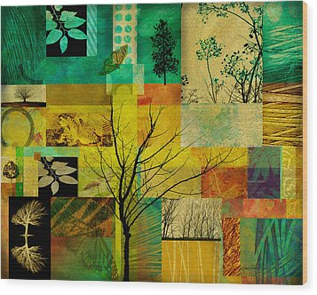 Nature Patchwork Wood Print by Ann Powell