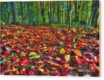 Natures Carpet In The Fall Wood Print by Dan Friend
