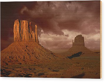Natures Fury In Monument Valley Arizona Wood Print by Katrina Brown
