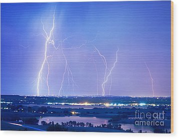 Natures Light Show Over The Boulder Reservoir  Wood Print by James BO  Insogna