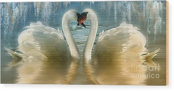 Natures Love Wood Print by Elaine Manley