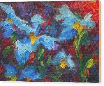 Nature's Palette - Himalayan Blue Poppy Oil Painting Meconopsis Betonicifoliae Wood Print by Talya Johnson