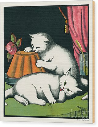 Naughty Cats Preen And Lounge With Rose Topped Cake Wood Print by Pierpont Bay Archives