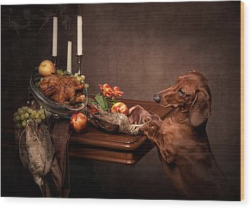 Naughty Dachshund  Wood Print by Tanya Kozlovsky