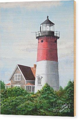 Nauset Beach Memories Watercolor Painting Wood Print by Michelle Wiarda