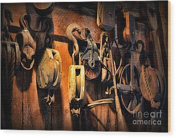 Wood Print featuring the photograph Nautical - Boat - Block And Tackle  by Paul Ward