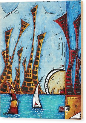 Nautical Coastal Art Original Contemporary Cityscape Painting City By The Bay By Madart Wood Print by Megan Duncanson