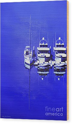 Nautical Reflections Wood Print by MaryJane Armstrong