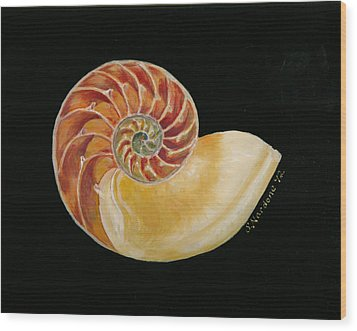 Wood Print featuring the painting Nautilus Shell by Sandra Nardone