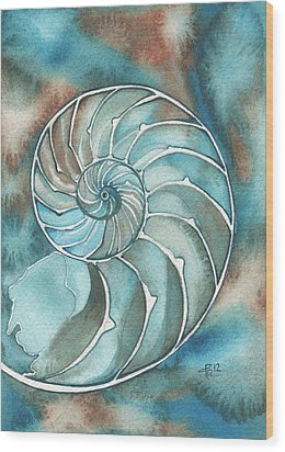 Wood Print featuring the painting Nautilus by Tamara Phillips