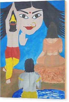 Nava Durga Siddhidaatri Wood Print by Pratyasha Nithin