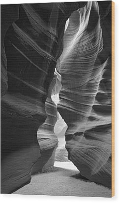 Antelope Canyon Black And White Wood Print