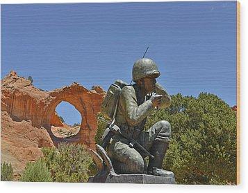 Navajo Code Talker - Window Rock Az Wood Print by Christine Till