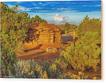 Navajo Hogan Canyon Dechelly Nps Wood Print by Bob and Nadine Johnston