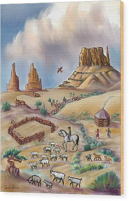 Navajo Sheepherder - Age 11 Wood Print by Dawn Senior-Trask