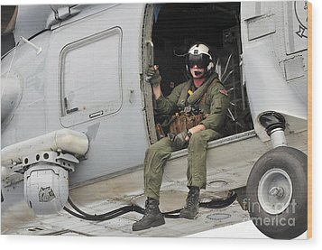 Naval Aircrewman Acts In An Sh-60b Sea Wood Print by Stocktrek Images