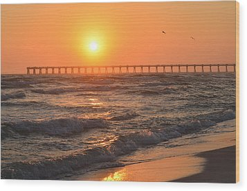 Wood Print featuring the photograph Navarre Beach And Pier Sunset Colors With Birds And Waves by Jeff at JSJ Photography