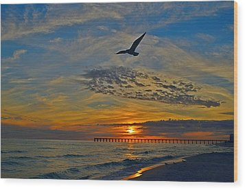 Wood Print featuring the photograph Navarre Beach And Pier Sunset Colors With Gulls And Waves by Jeff at JSJ Photography