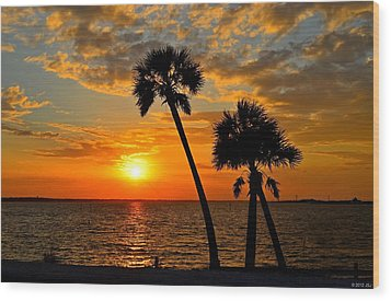 Navarre Beach Bridge Sunrise Palms Wood Print by Jeff at JSJ Photography