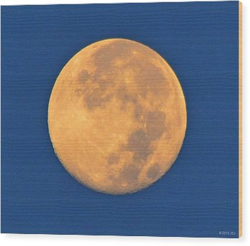 Wood Print featuring the photograph Navarre Beach Full Moon At Sunrise by Jeff at JSJ Photography