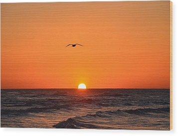 Navarre Beach Sunrise Waves And Bird Wood Print by Jeff at JSJ Photography