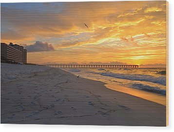 Navarre Pier And Navarre Beach Skyline At Sunrise With Gulls Wood Print by Jeff at JSJ Photography