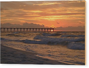 Navarre Pier At Sunrise With Waves Wood Print