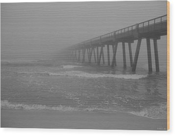 Navarre Pier Disappears In The Bw Fog Wood Print