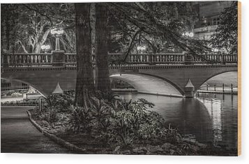 Wood Print featuring the photograph Navarro Street Bridge At Night by Steven Sparks