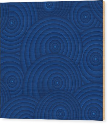 Navy Blue Abstract Wood Print by Frank Tschakert