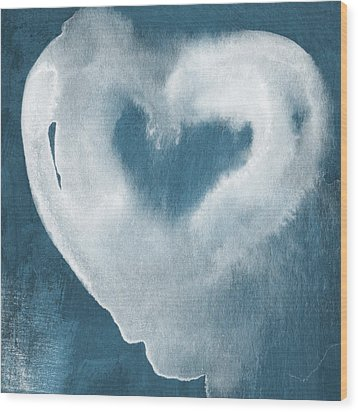 Navy Blue And White Love Wood Print by Linda Woods