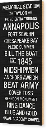 Navy College Town Wall Art Wood Print by Replay Photos