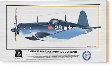 Navy Corsair 29 Wood Print by Kenneth De Tore