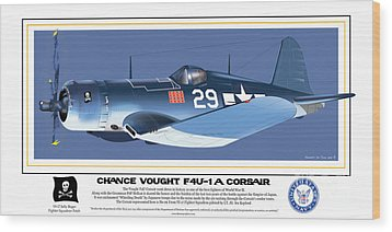 Navy Corsair 29 On Blue Wood Print by Kenneth De Tore